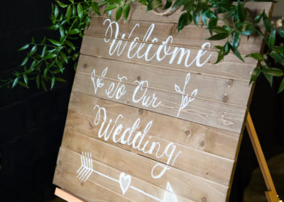 Sign with couples names for wedding