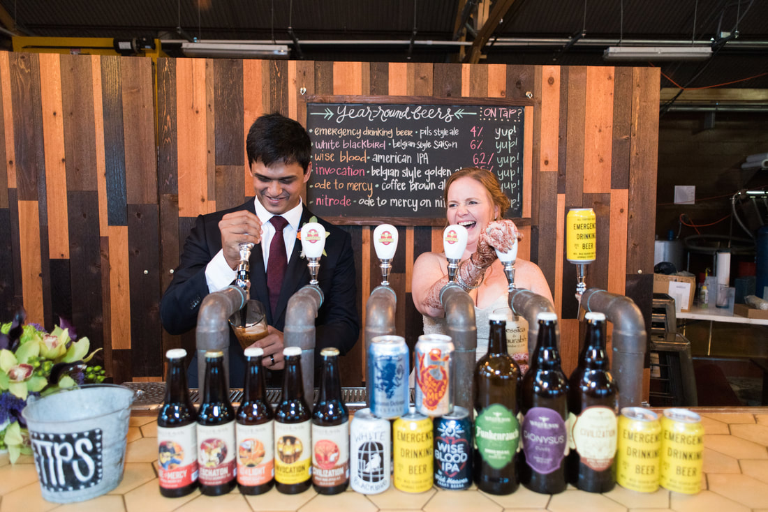 Couple pouring drinks at Wild Heaven Avondale for Micro Wedding Packages